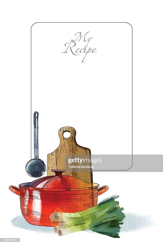 My kitchen Watercolor vector kitchen background