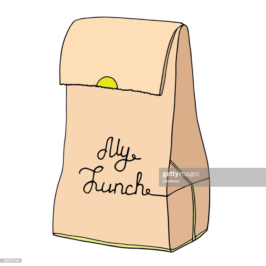 My Lunch illustration. Paper food bag with an inscription.