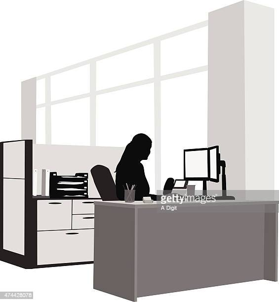 my office desk - office cubicle stock illustrations, clip art, cartoons, & icons