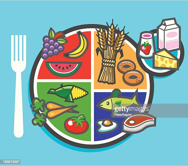my plate food pie chart - body conscious stock illustrations, clip art, cartoons, & icons