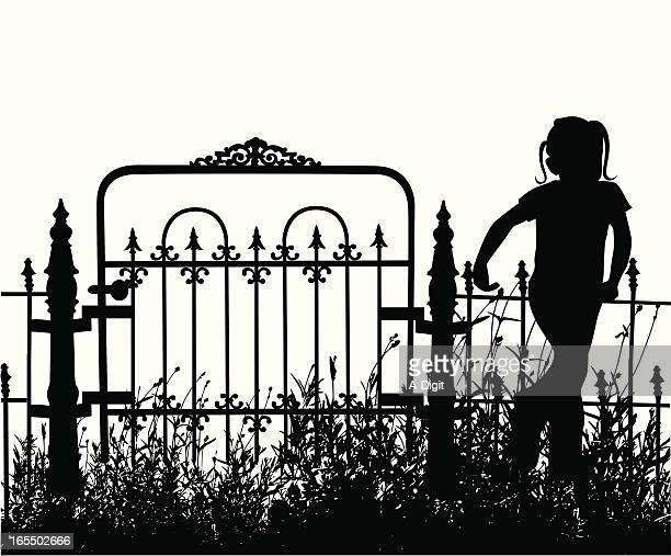 my yard vector silhouette - one girl only stock illustrations, clip art, cartoons, & icons