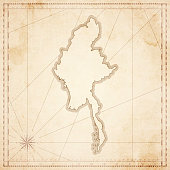 Myanmar map in retro vintage style - old textured paper