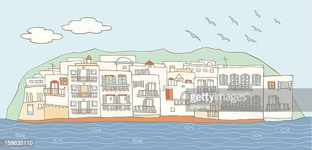 mykonos, greece - greek islands stock illustrations, clip art, cartoons, & icons