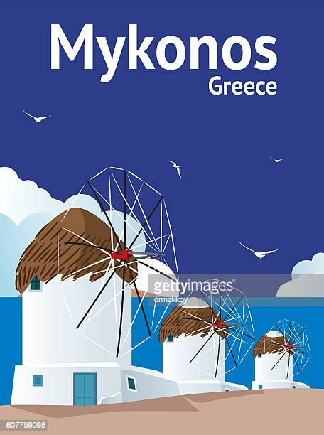 mykonos - greek islands stock illustrations, clip art, cartoons, & icons