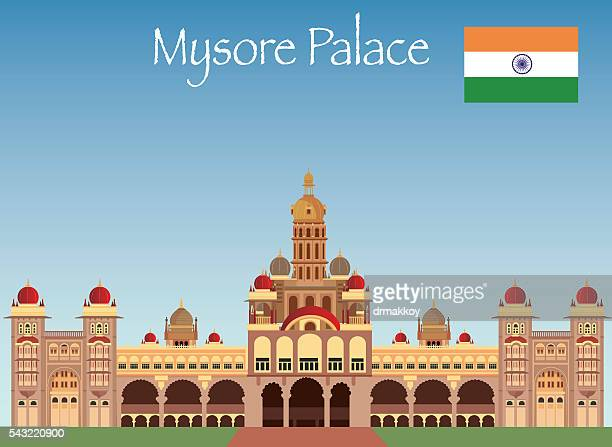 mysore palace - karnataka stock illustrations