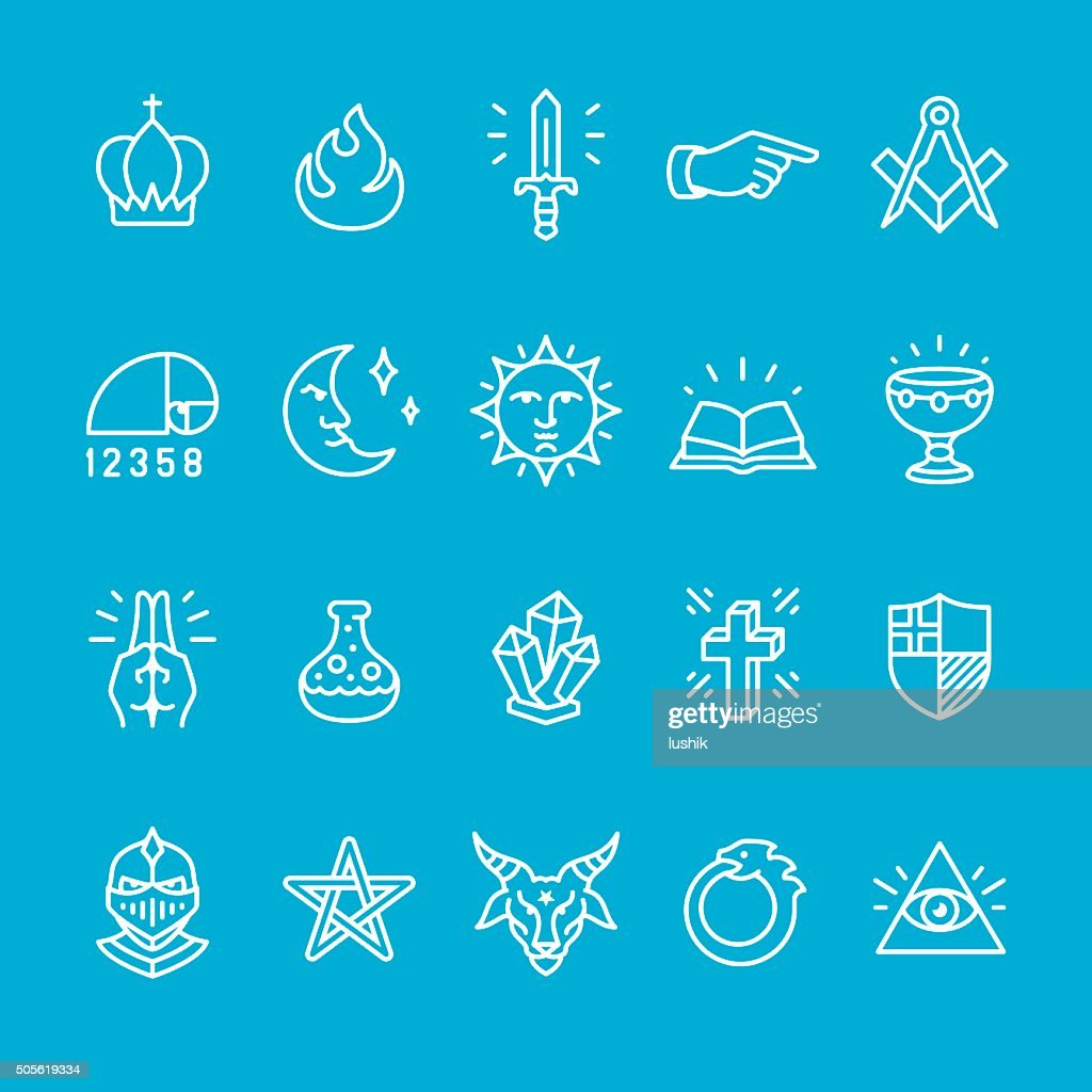 Mystery and Masonic Lodge icons collection
