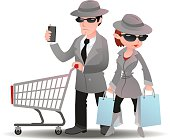 Mystery shopper man with shopping cart phone and woman bag