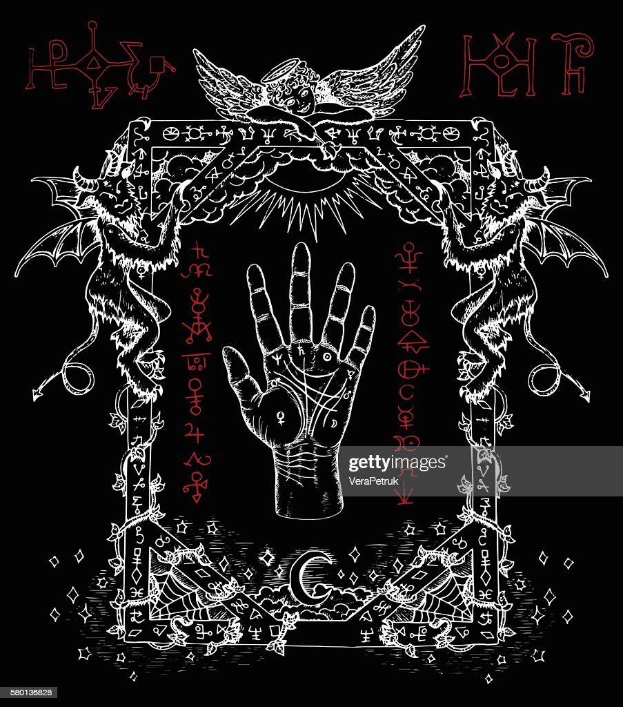 Mystic frame with chiromancy palm, demons and angel