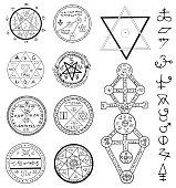 Mystic set with magic circles, pentagram and symbols