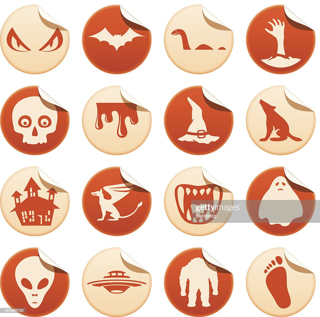Mystical And Horror Stickers stock vector - Getty Images