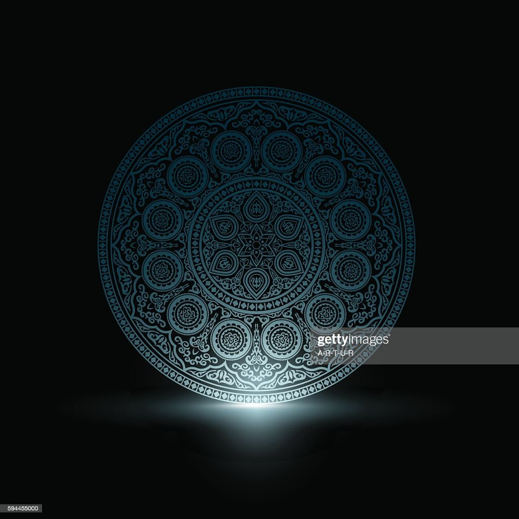 Mystical Delicate Blue Round Ornament Pattern with light