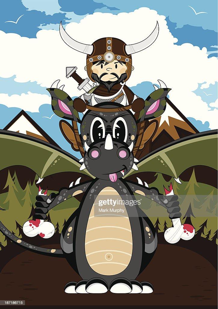 Mystical Dragon and Viking Warrior