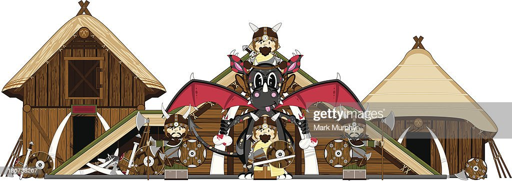 Mystical Dragon and Viking Warriors