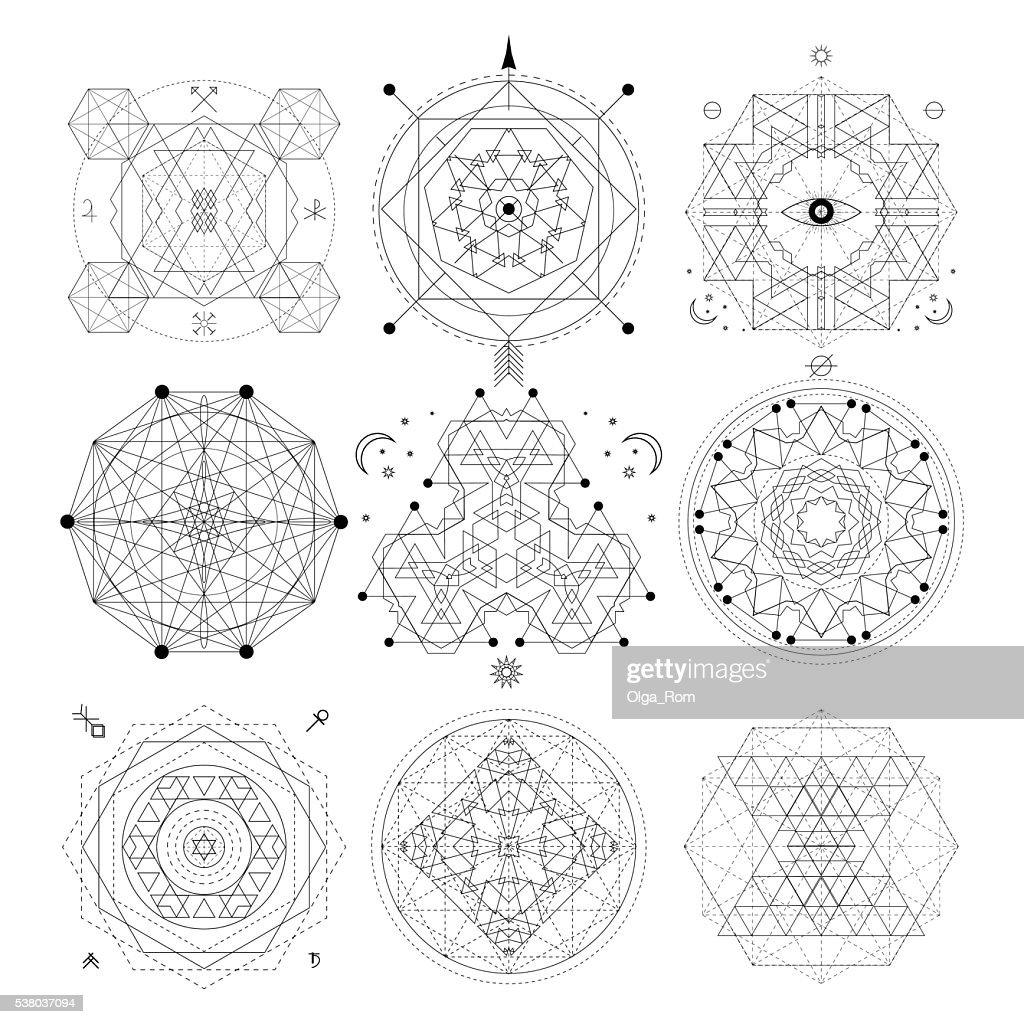 Mystical geometry symbols set.