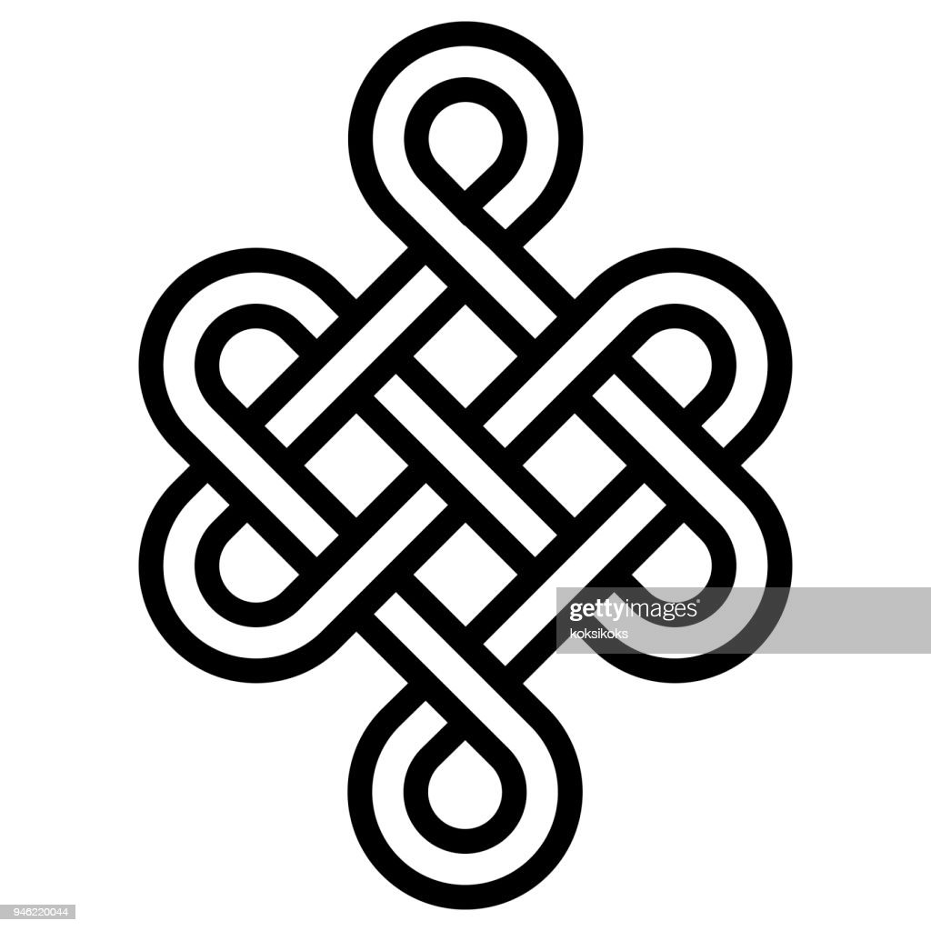 Mystical knot of longevity and health, sign  good luck Feng Shui, vector the infinity knot, health symbol tattoo