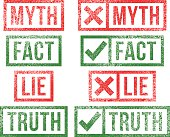 Myth Fact Lie Truth rubber stamps