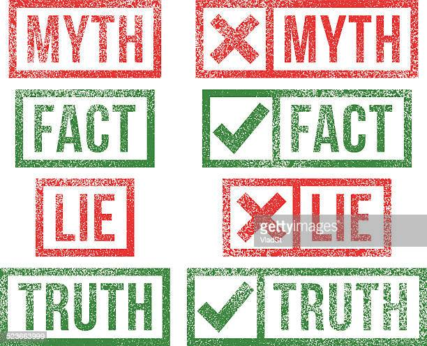 myth fact lie truth rubber stamps - respect stock illustrations