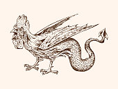 Mythical Basilisk. Ancient Mythology. Bird and animal, creature cock in the old vintage style. Engraved hand drawn old sketch