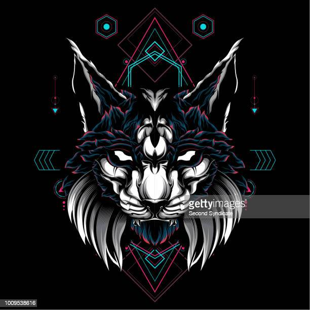 mythical cat sacred geometry - cartoon characters with big teeth stock illustrations