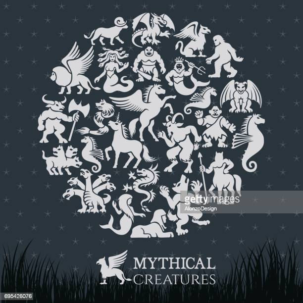mythical collage - pegasus stock illustrations, clip art, cartoons, & icons