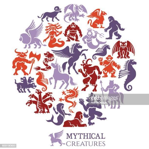 illustrations, cliparts, dessins animés et icônes de collage des créatures mythiques - cyclope