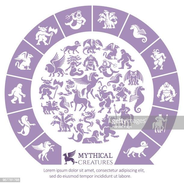 mythical creatures collage - cyclops stock illustrations, clip art, cartoons, & icons