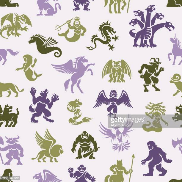 mythical creatures pattern - bigfoot stock illustrations