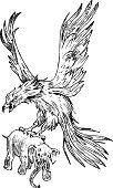 Mythical Phoenix fire bird or antique Roc. Ancient Mythology animal, creature in the old vintage style. eagle with an elephant. Engraved hand drawn old sketch