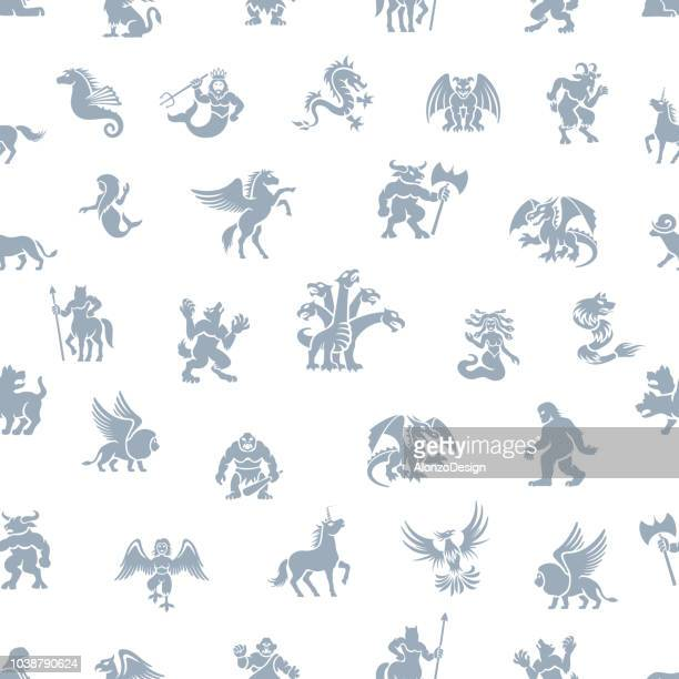 mythical seamless pattern - greek gods stock illustrations, clip art, cartoons, & icons