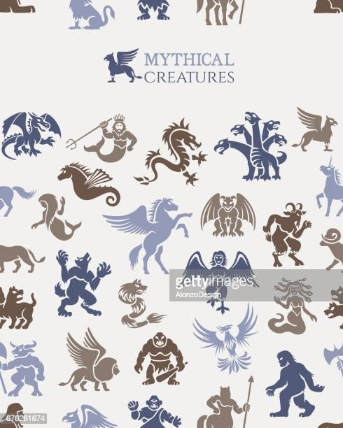 mythical seamless pattern - pegasus stock illustrations, clip art, cartoons, & icons