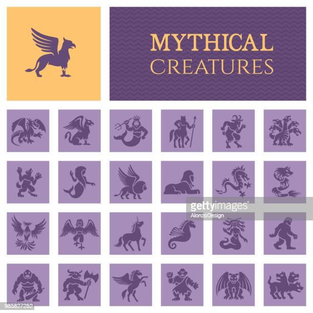 illustrations, cliparts, dessins animés et icônes de icônes de créature mythologique - cyclope