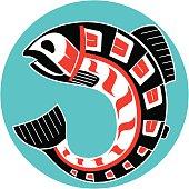Mythological image Salmon of North American