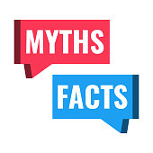 Myths facts. Vector illustration on white background.