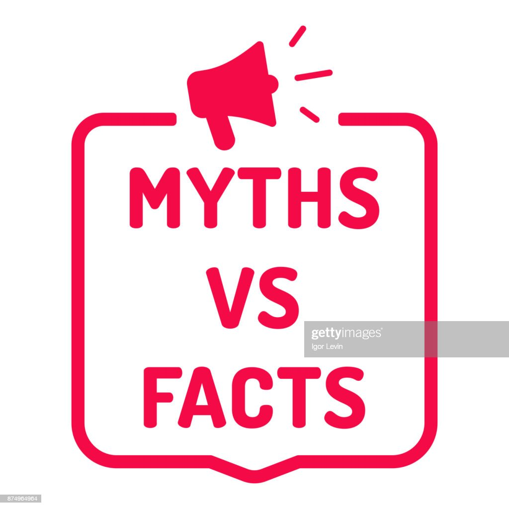 Myths vs facts. Badge with megaphone icon. Flat vector illustration on white background.