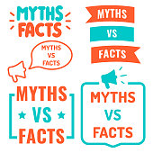 Myths vs facts. Vector illustrations on white background.