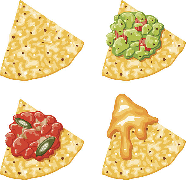 nacho corn chip icons with toppings - melting stock illustrations
