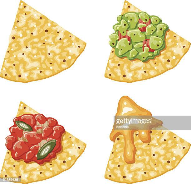nacho corn chip icons with toppings - dipping stock illustrations, clip art, cartoons, & icons