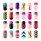 Nail art design. Geometric nail stickers template