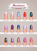 nail art fashion trends vector template