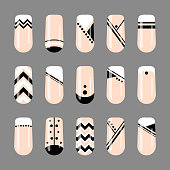 Nail art. Geometric black and white nude design template