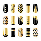 Nail art. Gold and black nail stickers design