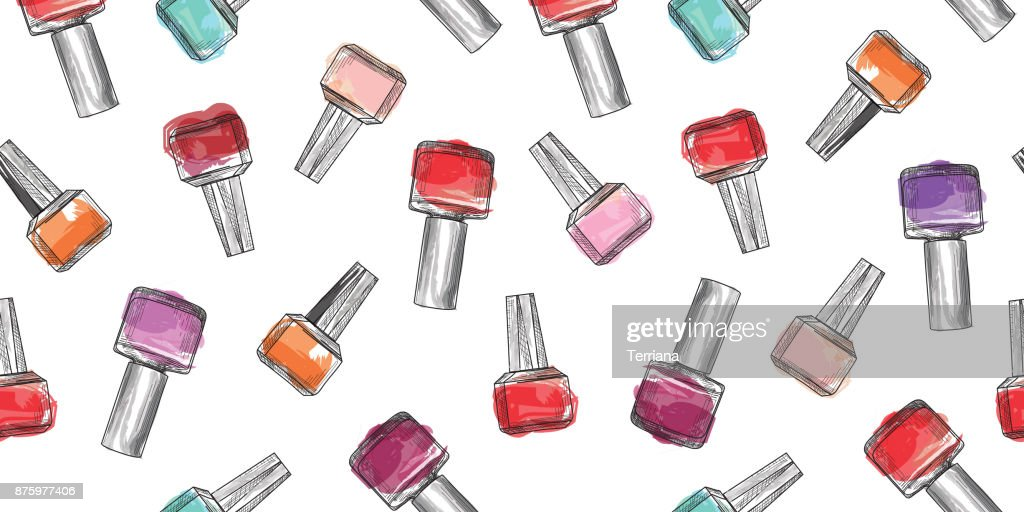 Nail polish bottle seamless pattern. Beauty salon manicure backg