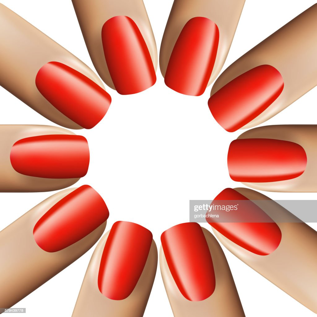 Nail red manicure isolated on white background. 3d illustration. Vector.