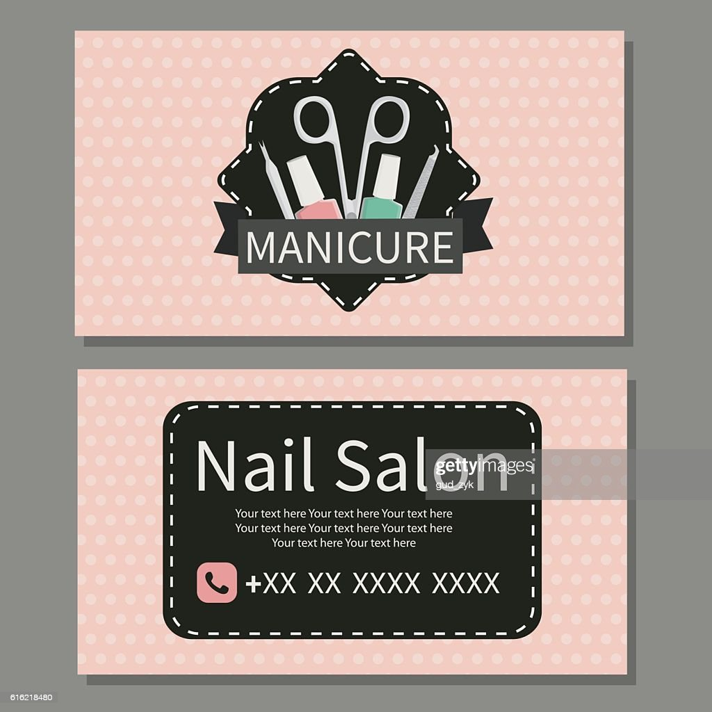 Nail Salon. Cute business card : Vector Art