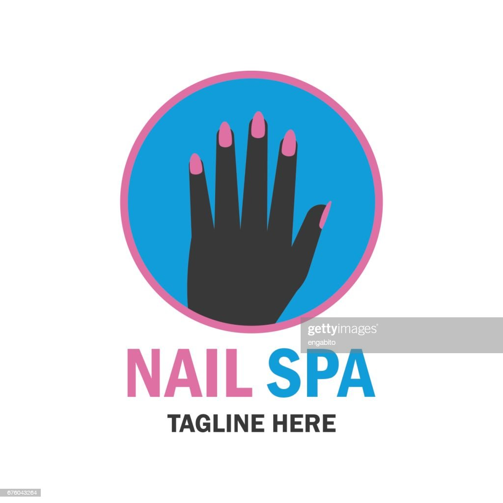 nail salon manicure pedicure icon with text space for your slogan / tagline, vector illustration