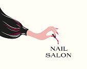 Nails art salon vector illustration.Woman hand with with elegant manicure, holding a nail polish brush dripping.
