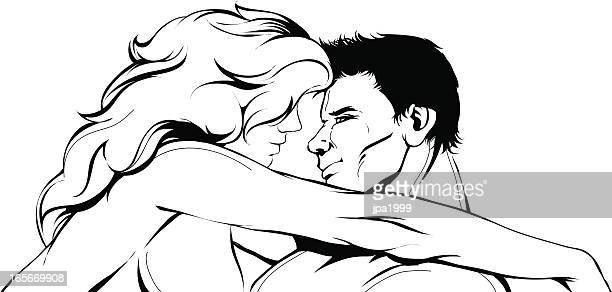 naked couple hugging - adult stock illustrations, clip art, cartoons, & icons