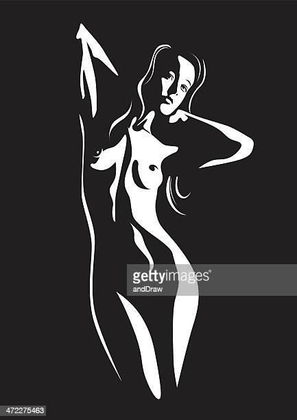 illustrazioni stock, clip art, cartoni animati e icone di tendenza di nudo di donna in posa - donna nuda