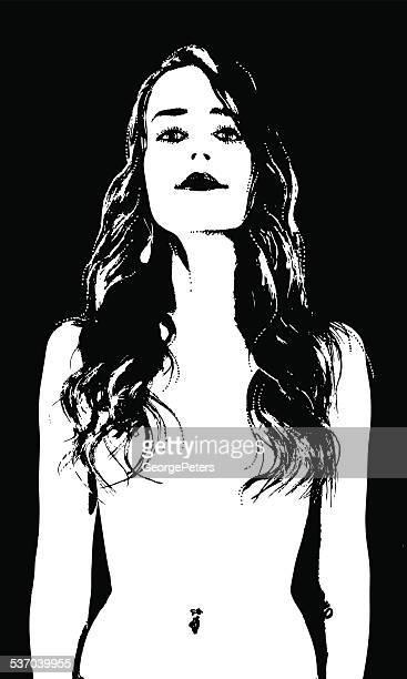 ilustraciones, imágenes clip art, dibujos animados e iconos de stock de desnudo mujer de silueta - mujer desnuda