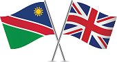 Nambia and Britain flags.Vector illustration.